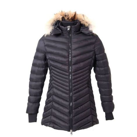 Moncler Mont Down Siyah - Moncler Down Kurklu Sapkali Uzun Mont Kadin Siyah