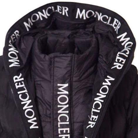 Moncler Mont Stripe Logo Siyah - Moncler Logo Stripe Black Uzun Erkek Mont Siyah