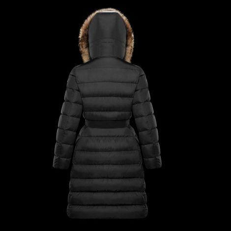 Moncler Mont Khloe Siyah - Moncler Mont Khloe Kurklu Uzun Kadin Siyah