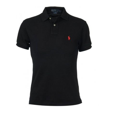 Ralph Lauren Tişört Polo Black - Polo T Shirt Ralph Lauren Black Red Siyah