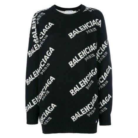Balenciaga Sweatshirt Jacquard Siyah #Balenciaga #Sweatshirt #BalenciagaSweatshirt #Kadın #BalenciagaJacquard #Jacquard