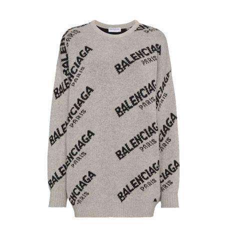 Balenciaga Sweatshirt Jacquard Gri #Balenciaga #Sweatshirt #BalenciagaSweatshirt #Kadın #BalenciagaJacquard #Jacquard