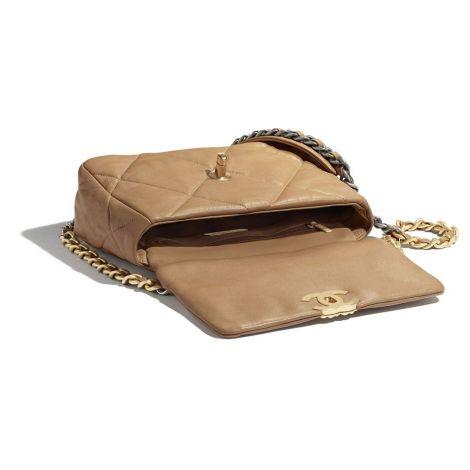Chanel Çanta Grained Bej - Chanel Canta 19 Flap Bag Lambskin Gold Silver Ruthenium Metal Bej