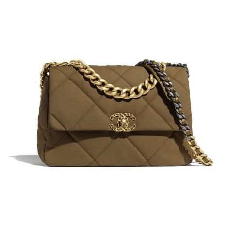Chanel Çanta Grained Bronz - Chanel Canta 19 Large Flap Bag Cotton Canvas Calfskin Gold Silver Bronz