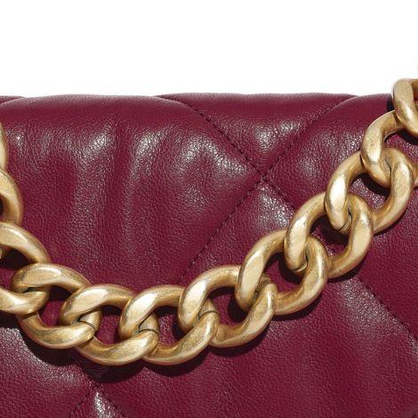 Chanel Çanta Grained Bordo - Chanel Canta 19 Large Flap Bag Goatskin Gold Silver Ruthenium Metal Bordo