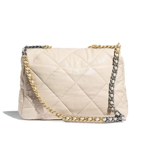 Chanel Çanta Maxi Bej - Chanel Canta 19 Maxi Flap Lambskin Gold Silver Ruthenium Finish Metal Bej