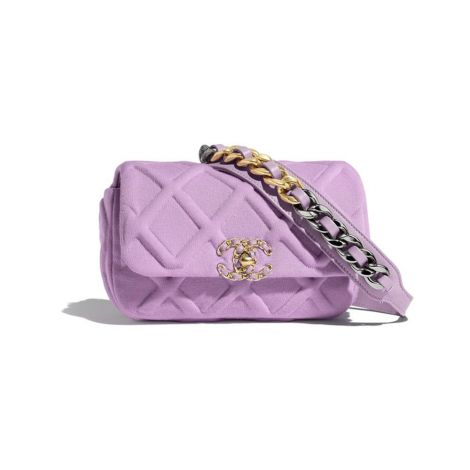Chanel Çanta Jersey Lila - Chanel Canta 19 Waist Bag Jersey Gold Silver Ruthenium Finish Metal Lila