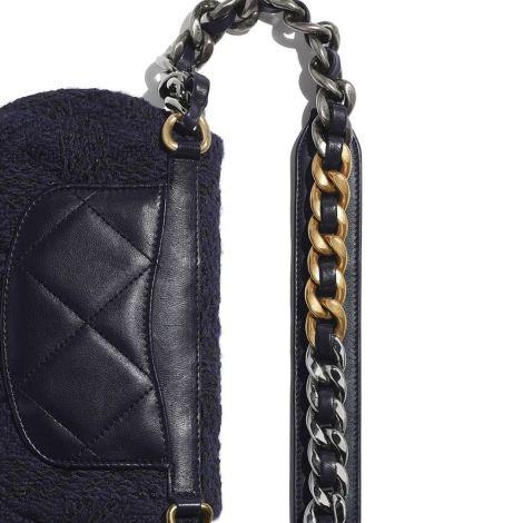 Chanel Çanta Grained Siyah - Chanel Canta 19 Waist Bag Wool Tweed Gold Silver Ruthenium Finish Metal Siyah