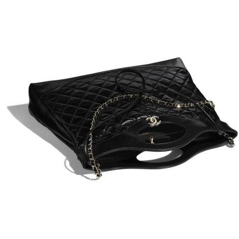 Chanel Çanta Logo Siyah - Chanel Canta 31 Large Shopping Bag Shiny Crumpled Calfskin Gold Siyah