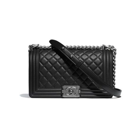 Chanel Çanta Logo Siyah - Chanel Canta Boy Chanel Handbag Calfskin Ruthenium Finish Metal Siyah