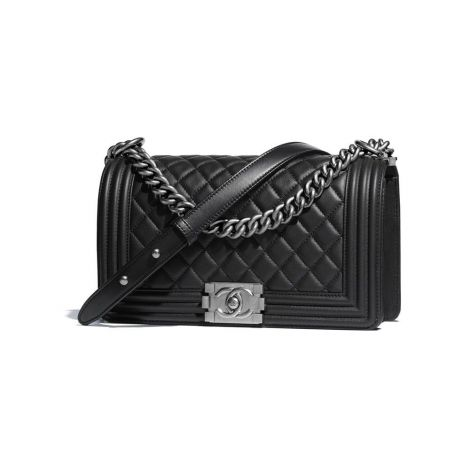 Chanel Çanta Grained Siyah - Chanel Canta Boy Chanel Handbag Calfskin Ruthenium Siyah