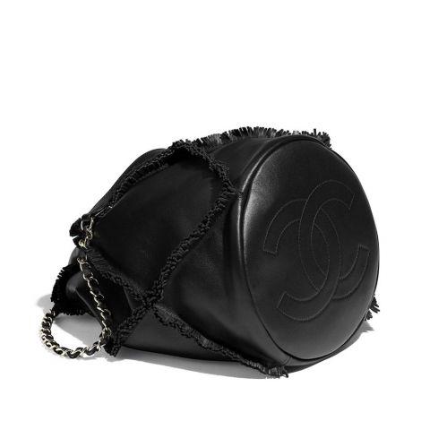 Chanel Çanta Drawstring Siyah - Chanel Canta Drawstring Bag Calfskin Gold Tone Metal Siyah