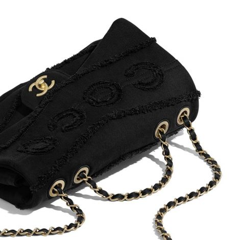 Chanel Çanta Denim Siyah - Chanel Canta Flap Bag Denim Gold Tone Metal Siyah