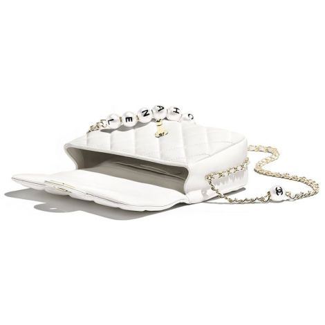 Chanel Çanta Pearls Beyaz - Chanel Canta Flap Bag Lambskin Imitation Pearls Gold Tone Metal Beyaz