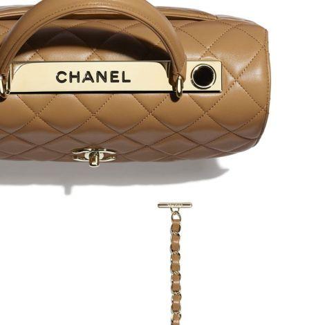 Chanel Çanta Grained Bej - Chanel Canta Flap Bag With Top Handle Lambskin Gold Tone Metal Bej