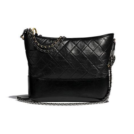 Chanel Çanta Gabrielle Siyah - Chanel Canta Gabrielle Large Hobo Bag Aged Calfskin Gold Silver Metal Siyah