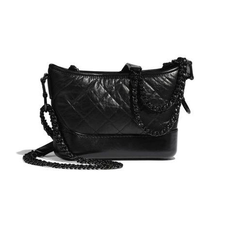 Chanel Çanta Gabrielle Siyah - Chanel Canta Gabrielle Small Hobo Bag Aged Calfskin Smooth Calfskin Siyah