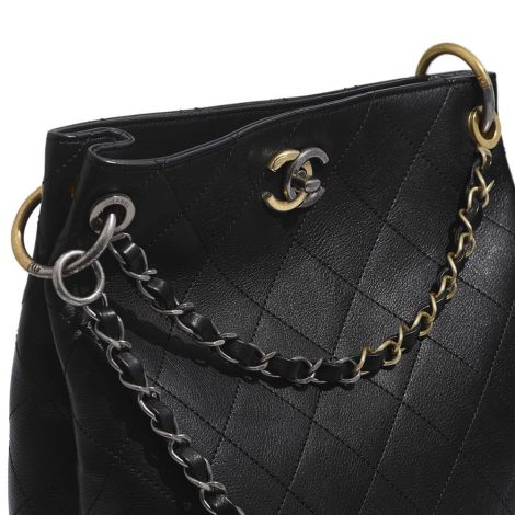 Chanel Çanta Klasik Siyah - Chanel Canta Hobo Handbag Calfskin Gold Silver Ruthenium Finish Metal Siyah