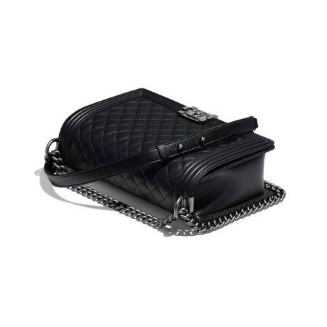 Chanel Çanta Grained Siyah - Chanel Canta Large Boy Chanel Handbag Calfskin Ruthenium Siyah