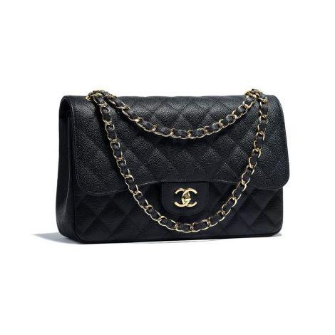 Chanel Çanta Grained Siyah - Chanel Canta Large Classic Handbag Grained Calfskin Gold Tone Metal Siyah