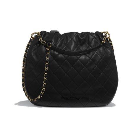 Chanel Çanta Drawstring Siyah - Chanel Canta Large Drawstring Bag Lambskin Gold Tone Metal Siyah
