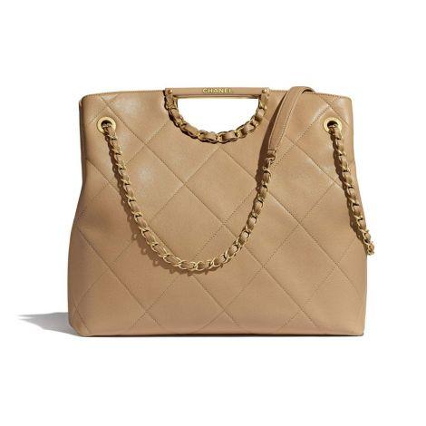Chanel Çanta Grained Bej - Chanel Canta Large Shopping Bag Grained Calfskin Gold Tone Metal Bej