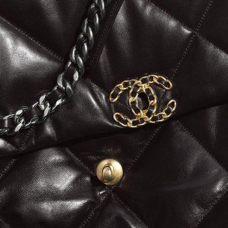 Chanel Çanta Maxi Siyah - Chanel Canta Maxi Flap Goatskin Gold Silver Ruthenium Finish Metal Siyah