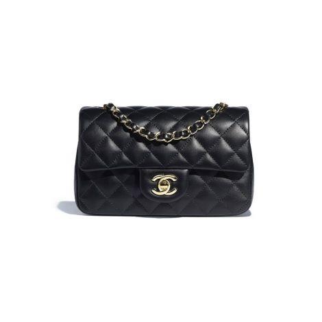 Chanel Çanta Mini Siyah - Chanel Canta Mini Flap Bag Lambskin Gold Tone Metal Siyah