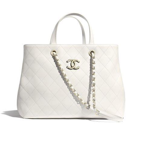 Chanel Çanta Logo Beyaz - Chanel Canta Shopping Bag Calfskin Gold Tone Metal Beyaz