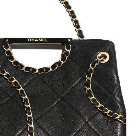 Chanel Çanta Grained Siyah - Chanel Canta Shopping Bag Grained Calfskin Gold Tone Metal Siyah
