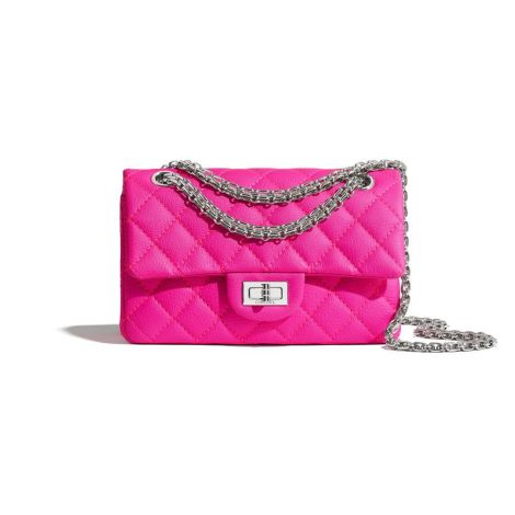 Chanel Çanta Grained Pembe - Chanel Canta Small 2 55 Handbag Goatskin Silver Tone Metal Pembe