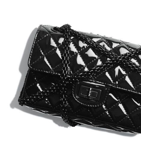 Chanel Çanta Patent Siyah - Chanel Canta Small 2 55 Handbag Patent Calfskin Black Metal Siyah