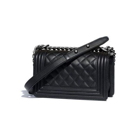 Chanel Çanta Grained Siyah - Chanel Canta Small Boy Chanel Handbag Calfskin Ruthenium Siyah