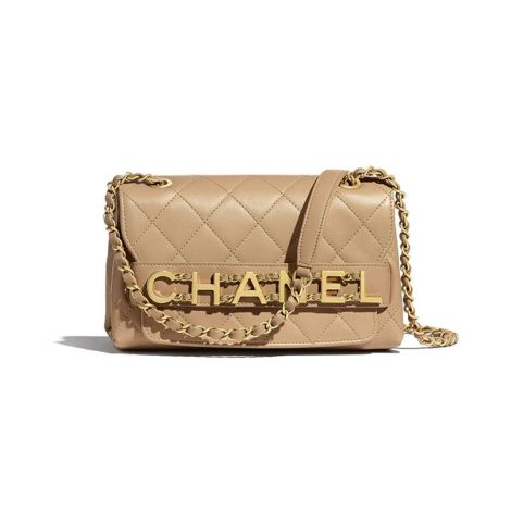 Chanel Çanta Logo Bej - Chanel Canta Small Flap Bag Calfskin Gold Tone Metal Beige