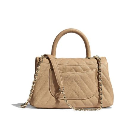 Chanel Çanta Grained Bej - Chanel Canta Small Flap Bag With Top Handle Grained Calfskin Gold Bej