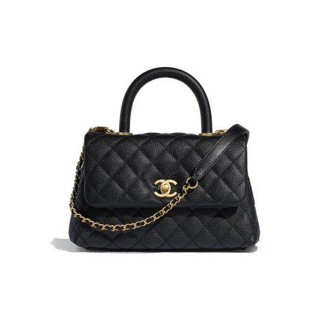 Chanel Çanta Grained Siyah - Chanel Canta Small Flap Bag With Top Handle Grained Calfskin Gold Siyah