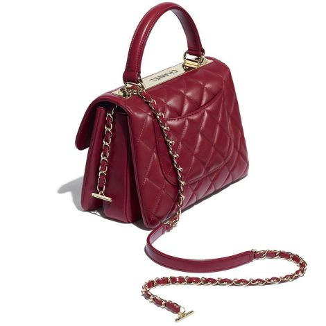 Chanel Çanta Grained Bordo - Chanel Canta Small Flap Bag With Top Handle Lambskin Gold Tone Metal Bordo