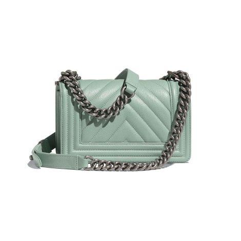 Chanel Çanta Grained Turkuaz - Chanel Canta Small Handbag Grained Calfskin Ruthenium Finish Metal Turkuaz