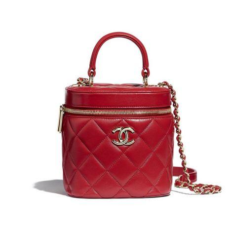 Chanel Çanta Vanity Kırmızı - Chanel Canta Vanity Case Lambskin Gold Tone Metal Kirmizi