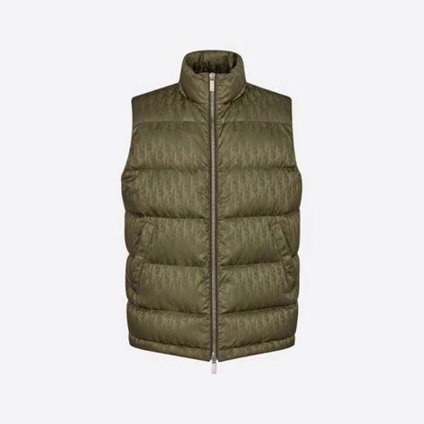 Dior Yelek Jacquard Yeşil - Dior Yelek Oblique Sleeveless Down Jacket Khaki Jacquard Yesil