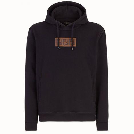 Fendi Sweatshirt FF Siyah - Fendi Erkek Sweatshirt Kapsonlu Ff Logo E19 Siyah
