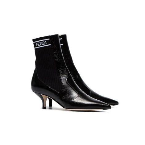 Fendi Ayakkabı Logo Siyah - Fendi Kadin Ayakkabi 45mm Knit Ankle Boots Topuklu Bot Siyah