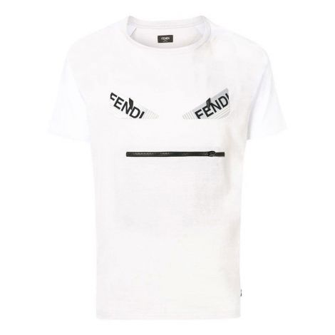 Fendi Tişört Applique Beyaz #Fendi #Tişört #FendiTişört #Erkek #FendiApplique #Applique