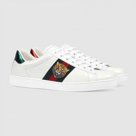 Gucci Ayakkabı Ace Tiger Beyaz - Gucci Ace Embroidered Sneaker Erkek Ayakkabi Beyaz