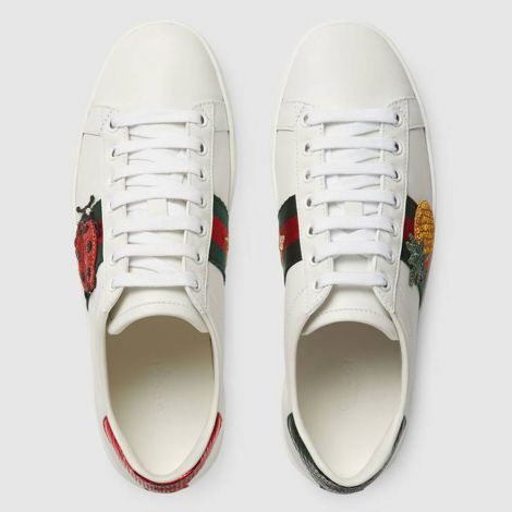 Gucci Ayakkabı Ace Pineapple Beyaz - Gucci Ace Embroidered Sneaker Light