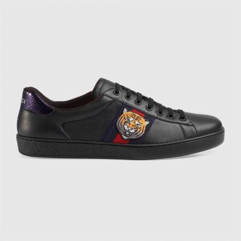 Gucci Ayakkabı Ace Tiger Siyah - Gucci Ace Sneaker Erkek Ayakkabi Siyah Yeni