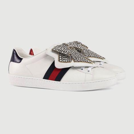 Gucci Ayakkabı Ace Ribbon Beyaz - Gucci Ace Sneaker With Removable Patches Kadin Ayakkabi Beyaz