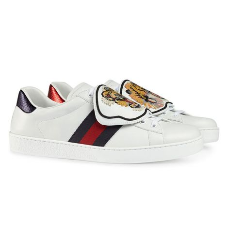 Gucci Ayakkabı Ace Patch Beyaz - Gucci Ace Sneakers With Removable Patches