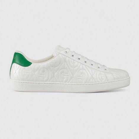 Gucci Ayakkabı Ace Rhombus Beyaz - Gucci Ayakkabi 2020 Erkek Mens Ace G Rhombus Sneaker Beyaz