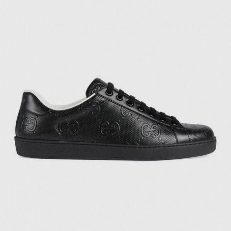 Gucci Ayakkabı GG Siyah - Gucci Ayakkabi 2020 Erkek Mens Ace Gg Embossed Sneaker Siyah